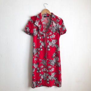 Elie Tahari red slip on dress zippered sz:2 silk